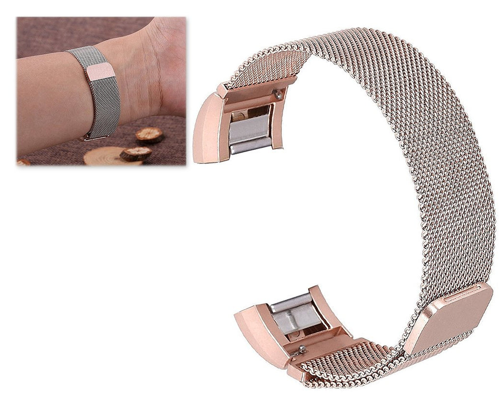 Magnet Stainless Steel Mesh Watch Band for Fitbit Alta - Rose Gold