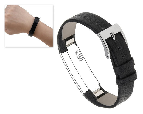 Replacement Leather Watch Band for Fitbit Alta - Black