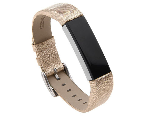 Replacement Leather Watch Band for Fitbit Alta - Gold