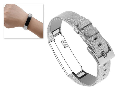 Replacement Leather Watch Band for Fitbit Alta - Silver