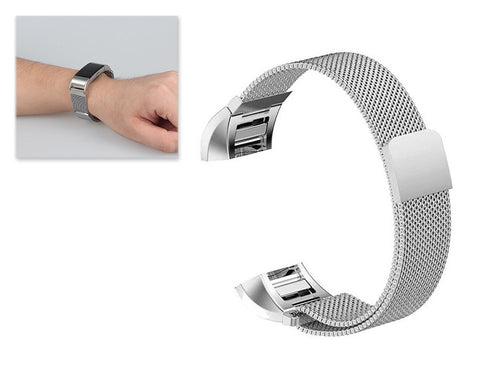Magnet Stainless Steel Mesh Watch Band for Fitbit Charge 2 - Silver