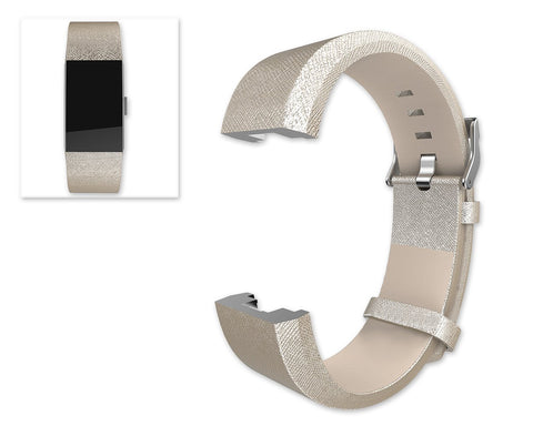 Replacement Leather Watch Band for Fitbit Charge 2 - Gold
