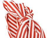 Korean Style Big Bow White Stripes Headband - Red
