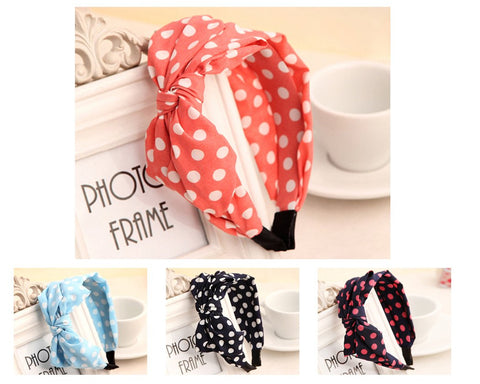 Korean Style Big Bow Polka Dots Headband