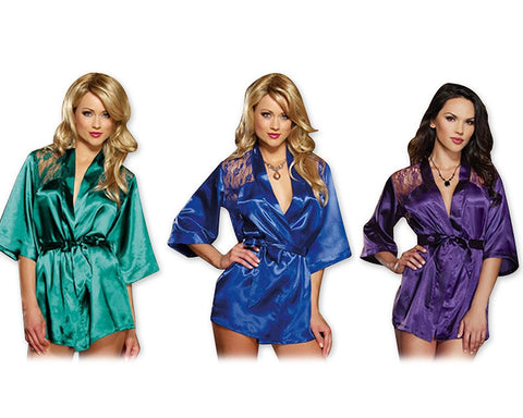 Sexy Lingerie Satin Kimono Robe Lace Sleepwear with G-String