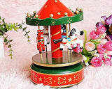 Rotating Musical Carousel Wooden Music Box