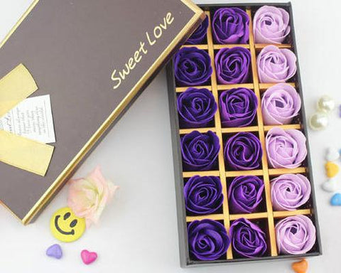 18 Pcs Romantic Rose Petal Flower Soap Gift Set - Purple