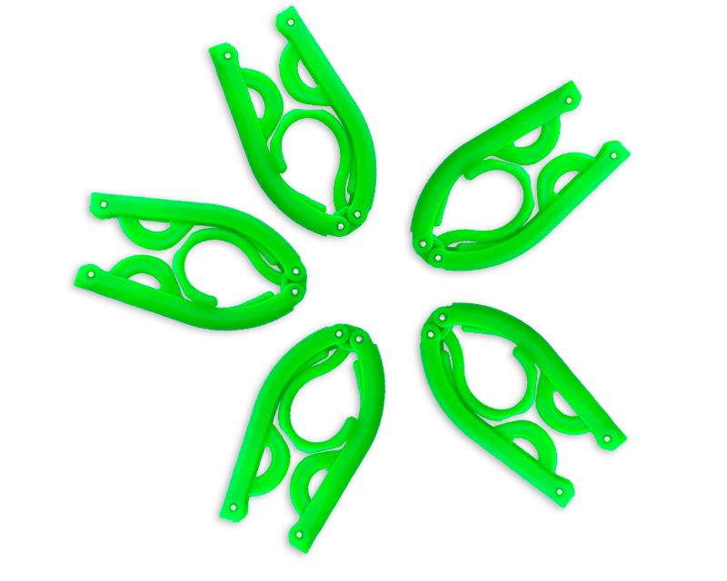 5 Pcs Plastic Folding Clothes Hanger - Green