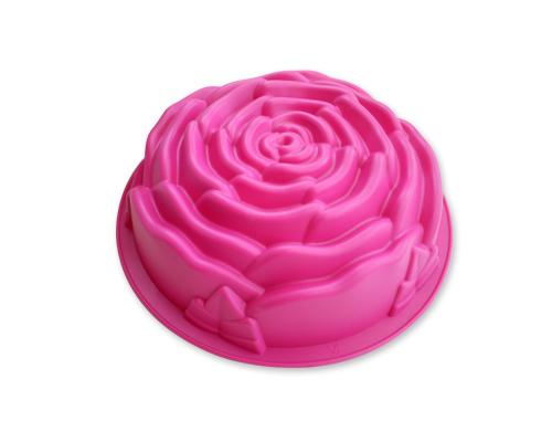 8.6 inches Rose Bundt Cakes Silicone Baking Mold - Magenta