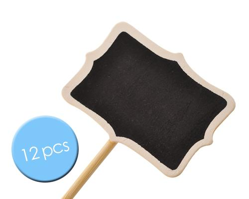 12 Pcs Rectangle Chalkboard Memo Holder for Party Wedding Decor