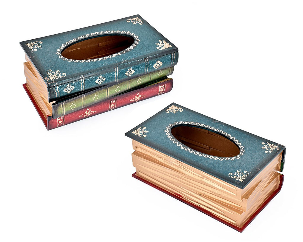 Retro Handcrafted Wooden Book Design Tissue Box