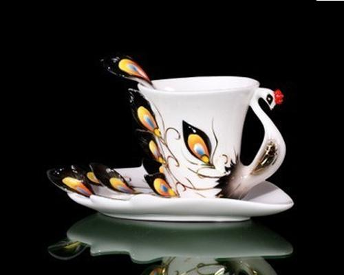 180 ml Peacock Coffee Cup Set with Saucer and Spoon