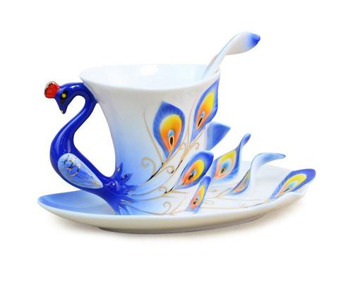 Peacock Cup and Saucer with Spoon