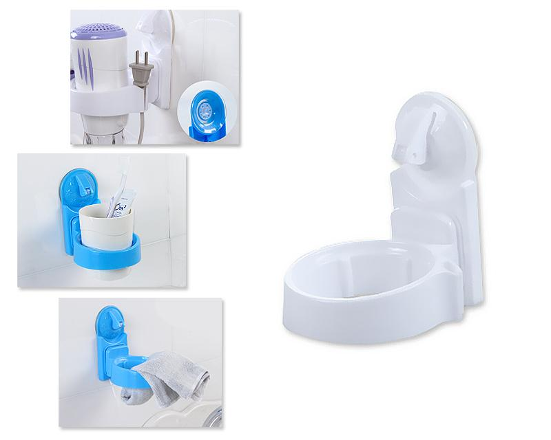 Plastic Hair Dryer Holder with Suction Cup - White