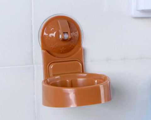 Plastic Hair Dryer Holder with Suction Cup - Brown
