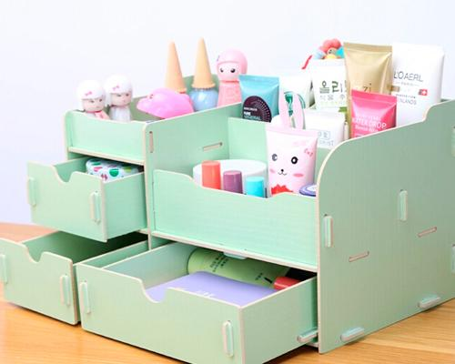 Decorative DIY Wooden Desk Cosmetic Storage Box - Mint
