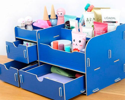 Decorative DIY Wooden Desk Cosmetic Storage Box - Navy