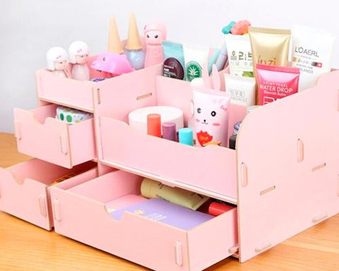 Decorative DIY Wooden Desk Cosmetic Storage Box - Pink