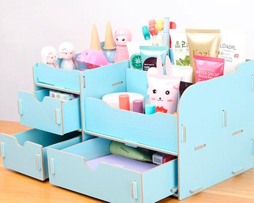Decorative DIY Wooden Desk Cosmetic Storage Box - Light Blue