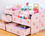 Decorative DIY Wooden Desk Cosmetic Storage Box - Camellia