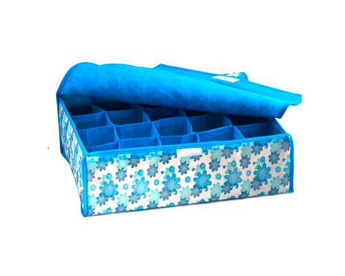 16 Pockets Collapsible Fabric Flower Underwear Storage Box - Blue