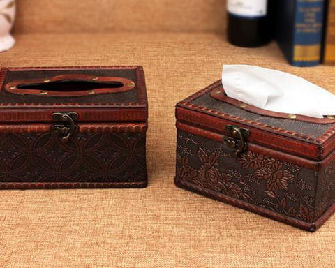 Retro Rectangular Wooden Tissue Box Holder