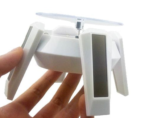 Solar Powered 360 Degree Rotatable Jewelry Display Stand w/ LED Light - White