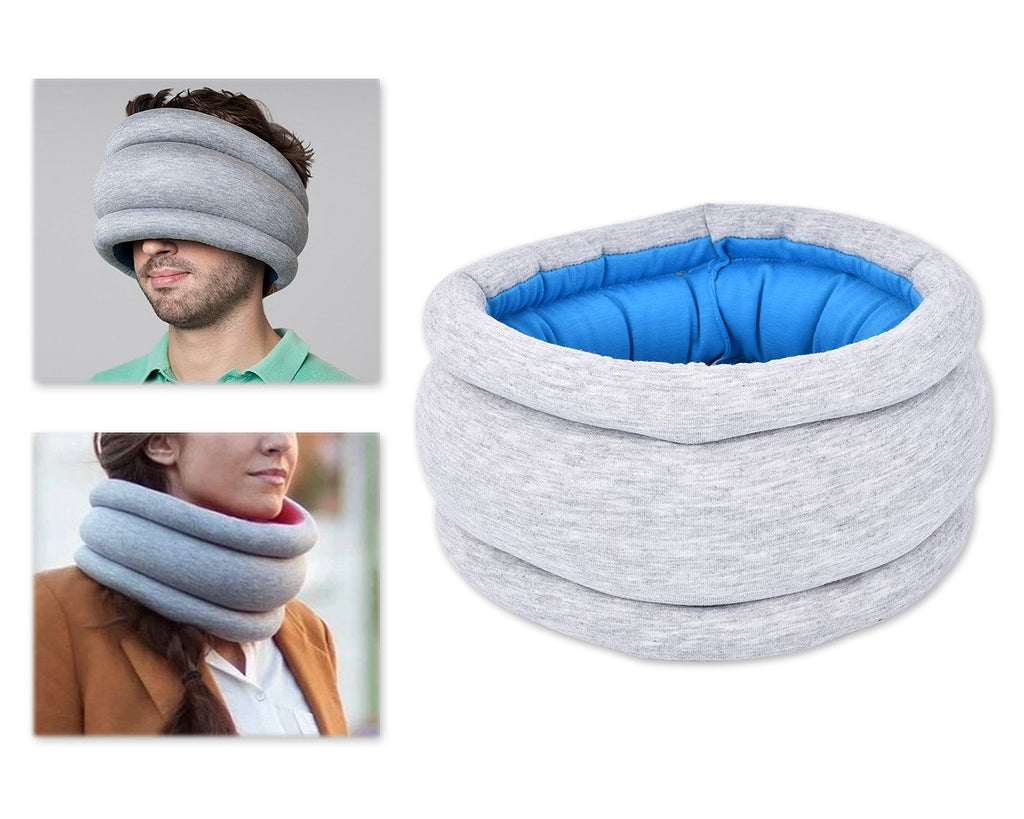 Reversible Ostrich Travel Pillow - Gray and Blue