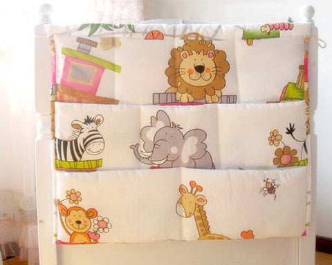 Cartoon Animals Hanging Diaper Caddy and Nursery Organizer - White