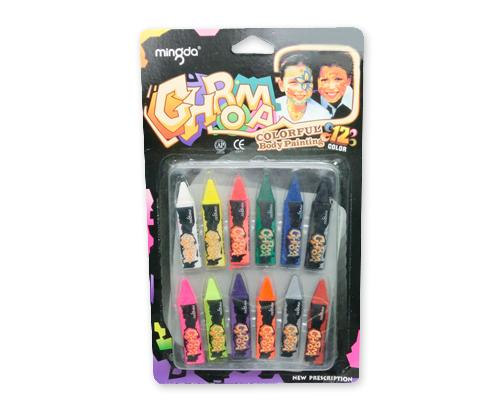 12 Colors Face and Body Paint Party Crayon Set
