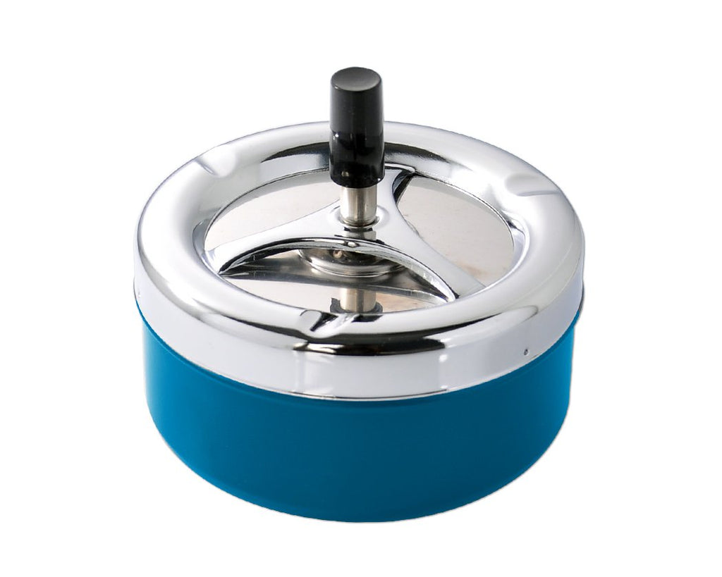 Round Push Down Spinning Metal Ashtray - Blue