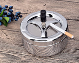 Round Push Down Metal Spinning Ashtray - Silver