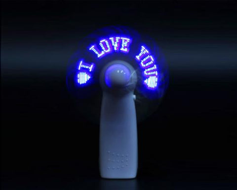 Portable Handheld LED Message USB Rechargeable Mini Pocket Fan - Blue