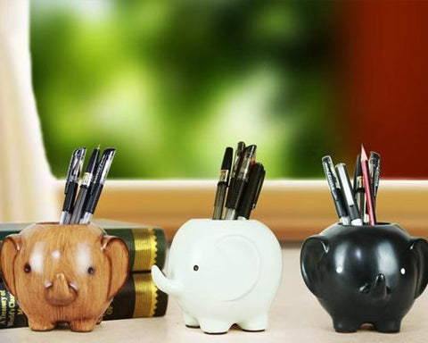 Elephant Shape Desk Pencil Holder - Brown