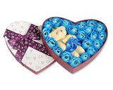 20 Pcs Heart Shaped Scented Rose Petal Bath Soap with Little Bear - Blue
