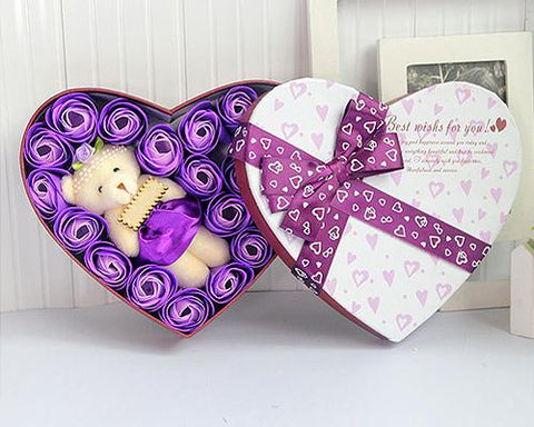 20 Pcs Heart Shaped Scented Rose Petal Bath Soap with Little Bear - Purple