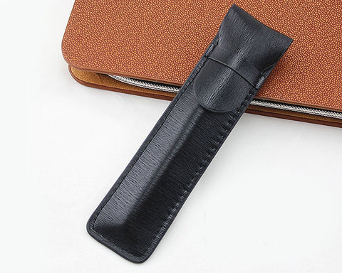 Leather Pen Pouch with Clasp 2 Pieces Single Pen Case