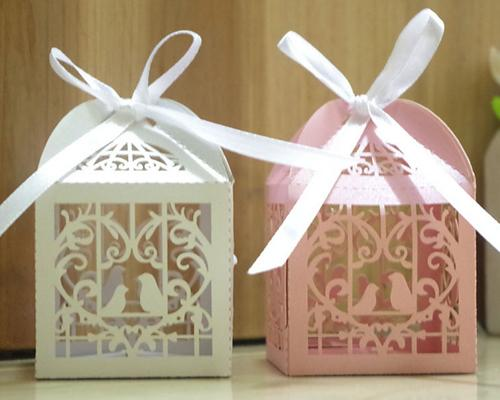 Laser Cut Love Birds Wedding Candy Boxes with Ribbons