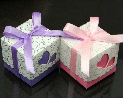 Loving Heart Wedding Candy Boxes with Ribbons