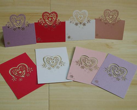 Laser Cut Love Heart Wedding Table Place Cards - White