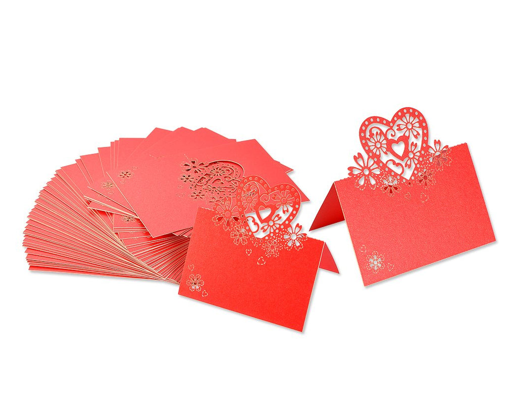 Laser Cut Love Heart Wedding Table Place Card - Red