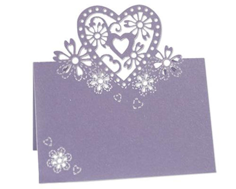 Laser Cut Love Heart Wedding Table Place Card - Purple