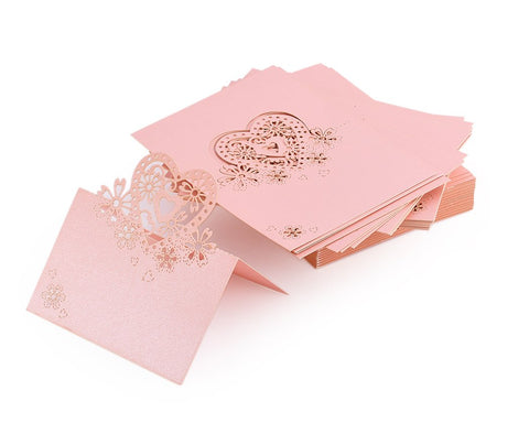 Laser Cut Love Heart Wedding Table Place Card - Pink