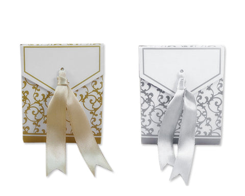 Classic Damask Wedding Candy Boxes with Ribbons