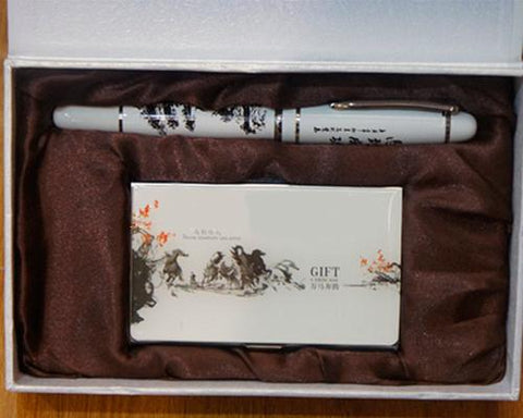 Chinese Style Fine Nib Signature Ink Fountain Pen Set with Card Holder