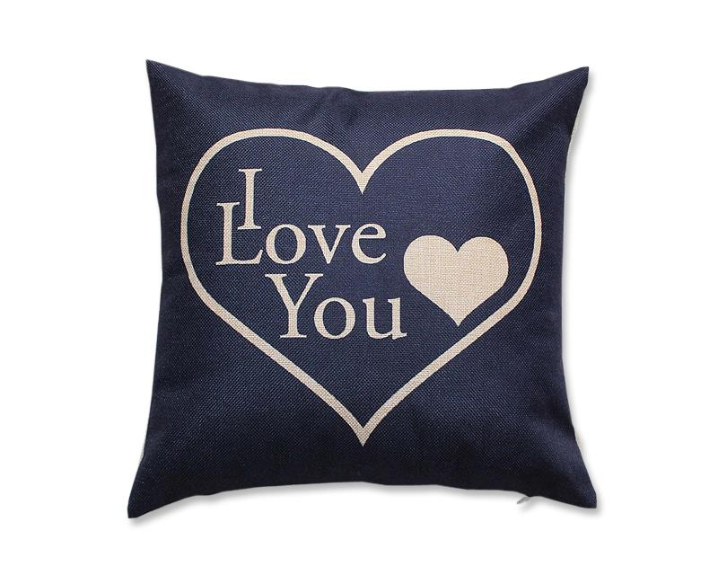 2 Pcs 18'' Cotton Linen I Love You Romantic Cushion Cover - Blue