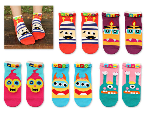 5 Pairs Youth Creative Cartoon Funny Socks