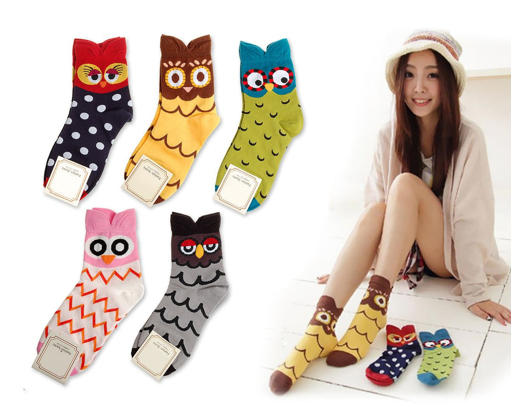 5 Pairs Creative Cute Animal Owl Cartoon Socks