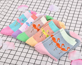 5 Pairs Flamingo Pattern Women Cotton Socks