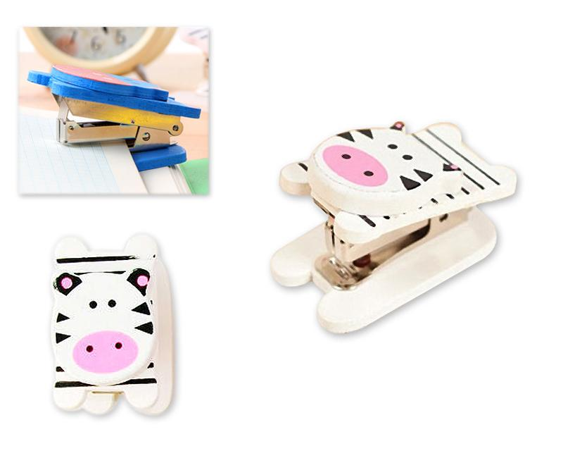 Wooden Desktop Mini Stapler Office Book Sewer - Cow